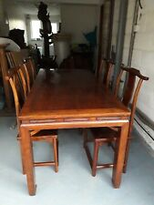 More details for antique qing dynasty chinese hongmu wood dining table and 4 yoke back chairs