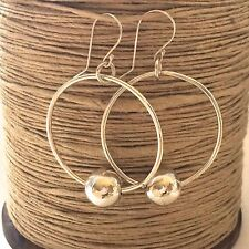 Large Sterling Silver Hoop Earrings with silver orbs Hammered and Handmade