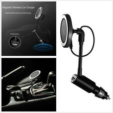 5W Black 360° Magnetic Car Qi Wireless Phone Charger Holder Mount With USB Port