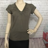 BANANA REPUBLIC, Women's Top, Short Sleeve, V-Neck, Size Small,Taupe Color
