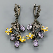 Vintage Natural Amethyst 925 Sterling Silver Earrings /E36334