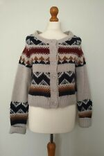 New Look Blue Brown Cream Aztec Style Cardigan Size 12