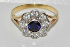 9ct Yellow Gold on Silver Blue Sapphire Antique Style Cluster Ring size Q