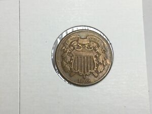 1866 Two Cent piece in very fine
