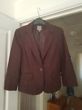 Lovely TU Smart Brown Jacket, Floral Textured, Fully Lined, Size 10, VGC