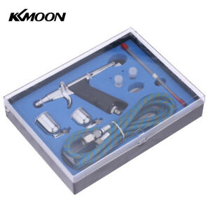 KKmoon Double Action Pistole Trigger Airbrush Set & Schlauch 3 Tipps 2 Cups Z2G8