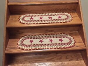 Burgundy Star Print Stair Tread or Table Runner
