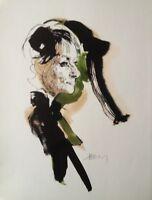 JACQUES PECNARD (1922-2012) RARE LITHOGRAPHIE SIGNEE LA CHANTEUSE BARBARA (9)