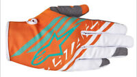Alpinestars Supermatic Gloves Org/Wht/Teal Motocross Mx Quad Atv Off Road