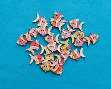 Pack of 10 Wooden Fish Buttons Approx 2.5cm