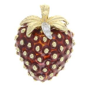 Yellow Gold Diamond & Red Enamel Strawberry Pendant - 18k Round Cut .12ctw Fruit