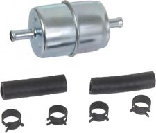 """Fuel Filter Universal Inline Metal 1/4"""" with Clamps and Hose In-Line 1/4"""" Inch"""