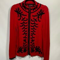 Dolce Cabo Womans ZIp Front Cardigan Sweater Size Medium Red & Black Embroidery