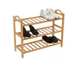 3 level Natural Bamboo Wooden Shoe Rack Storage Organizer Shoe Shelves Shoe Rack