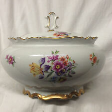 """REICHENBACH 242-P ROUND COVERED VEGETABLE BOWL 6 1/4"""" FLORAL GOLD TRIM"""