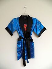 Thai Silk-Blend Child's Robe / Kimono - Medium Blue Reversible - Unisex L (New)