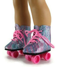 "Rainbow Glitter Roller Skate Shoes made for 18"" American Girl Doll Clothes"