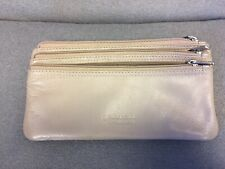 GOLUNSKI Soft Leather 3 Section Zipped Coin Purse  Taupe Used Once
