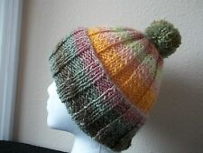 Hand knitted bulky & warm wool blend pom pom beanie/hat, green/yellow/mauve
