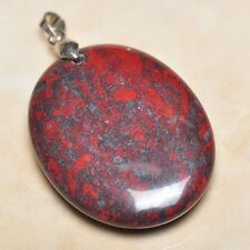 """Extremely Red Natural Bloodstone 925 Sterling Silver Clasp 2"""" Pendant #041"""