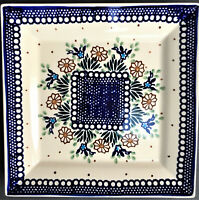 "NEW Boleslawiec Polish Pottery Handmade Square Plate 9"" Serving Dish #112"