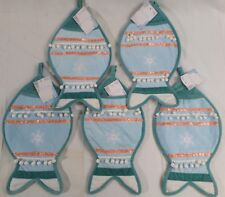 """Pet Christmas Stockings 16"""", Cat/Fish, Blue Holiday Decorations New Lot of 5"""