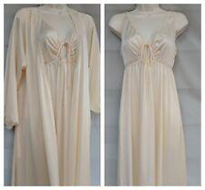 New listing Vtg 80's Miss Elaine Bridal Peignoir Set S Robe & Nightgown Ivory Silky Nylon