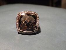 David  Yurman SS 18K 14MM Smoky Quartz & Diamonds Ring Size 8