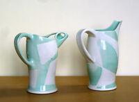 Studio Pottery Pitcher Pair Turquoise White Ceramic Art Blue Geometric Teal Vase