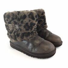 Genuine Uggs UK3 Ladies Brown Leather Animal Print Fur Buckle Pull On Ankle Boot