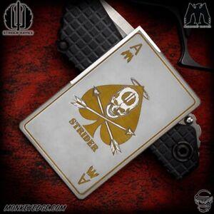 Monkey Edge Strider Knives: Mummert Titanium Card Blade - Gold Death Card