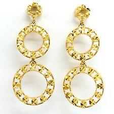 18K Yellow Gold Double-Circle Dangling Earrings 3.39 Grams