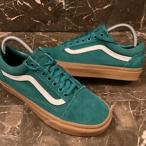 Vans old skool men's 7 women's 8.5 green teal Suede low top gum sole sk8 shoes