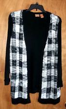 Women's 1X Open front cardigan sweater - black/white