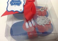 Mud Pie Blue BASEBALL CRIB SHOES 176034 Baby Boys size 6-12 Months Leather