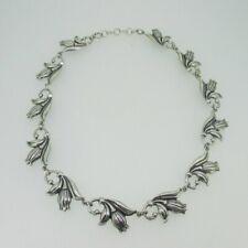 "Sterling Silver Danecraft Flower 15-16"" Choker Necklace"