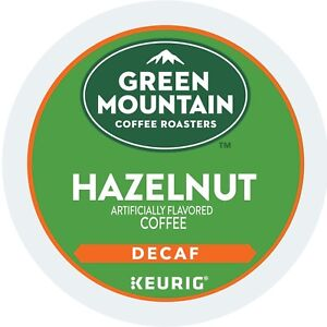 Green Mountain DECAF Hazelnut Coffee 24 to 144 Count Keurig Kcups Pick Any Size