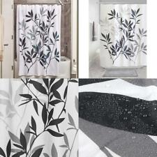 iDesign Leaves Fabric Shower Curtain, Modern Standard, Black and Gray