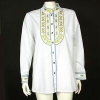 Vintage Bob Mackie Wearable Art Rainbow Embroidery Button Front Shirt Small