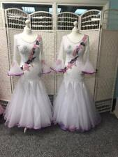 STUNNING WHITE WITH PINK  MOTIF AND AB HEAVILY STONED BALLROOM DANCE DRESS (77)