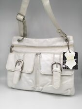 Genuine Leather White Pearl Messenger Bag Cross Body purse