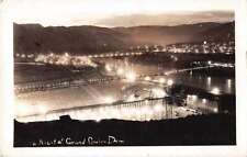 Grand Coulee Dam Washington Night Scene Real Photo Antique Postcard J53404