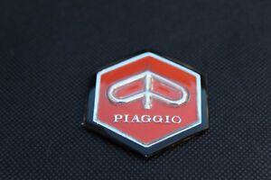 VESPA Piaggio Hexagon Orange Adhesive Legshield badge.
