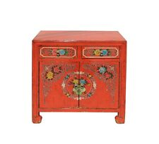 Chinese Distressed Orange Red Flower Graphic Table Cabinet cs3923