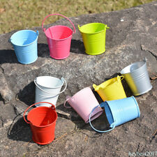 SET 12 SMALL MINI BUCKETS PARTY WEDDING FAVOURS CRAFTS METAL PAILS NEW FHFZ9