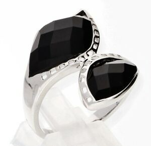 Echter 925 Silber  Damen RING mit schwarze Zirkonia, inkl. Schmucketui, TOP !!!
