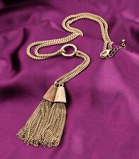 Vintage Style Bronze Fringe Satement Dangle Long Necklace Drop Vogue