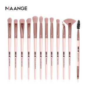 Maange 12Pcs Pink Gold  Makeup Brush set Eyeshadow Eyeliner Eyelash Maquiagem