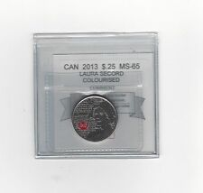**2013 Colour Laura Secord**Coin Mart Graded Canadian, 25 Cent,**MS-65**