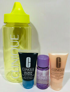 Clinique 4 Pc Travel Set - Cleansing Gel, Hydrator, Make Remover, & Water Bottle